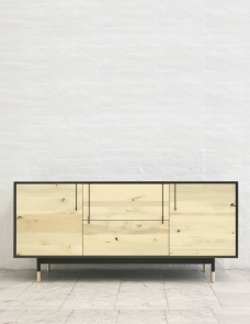 shown in oxidized maple white lacquer exterior 84 l x 22 d x 28 h 4 drawers 2 cabinets - Credenza Furniture