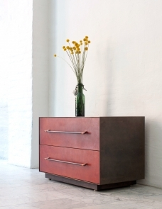 BLACKENED BRONZE EXTERIOR 35 L X 18 D X 18 H / DOUBLE DRAWER