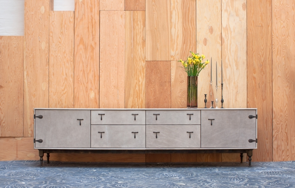 BLACKENED BRONZE HARDWARE 95 L X 22 D X 26 H / 2 SHALLOW DRAWERS / 2  STANDARD DRAWERS / 2 CABINETS